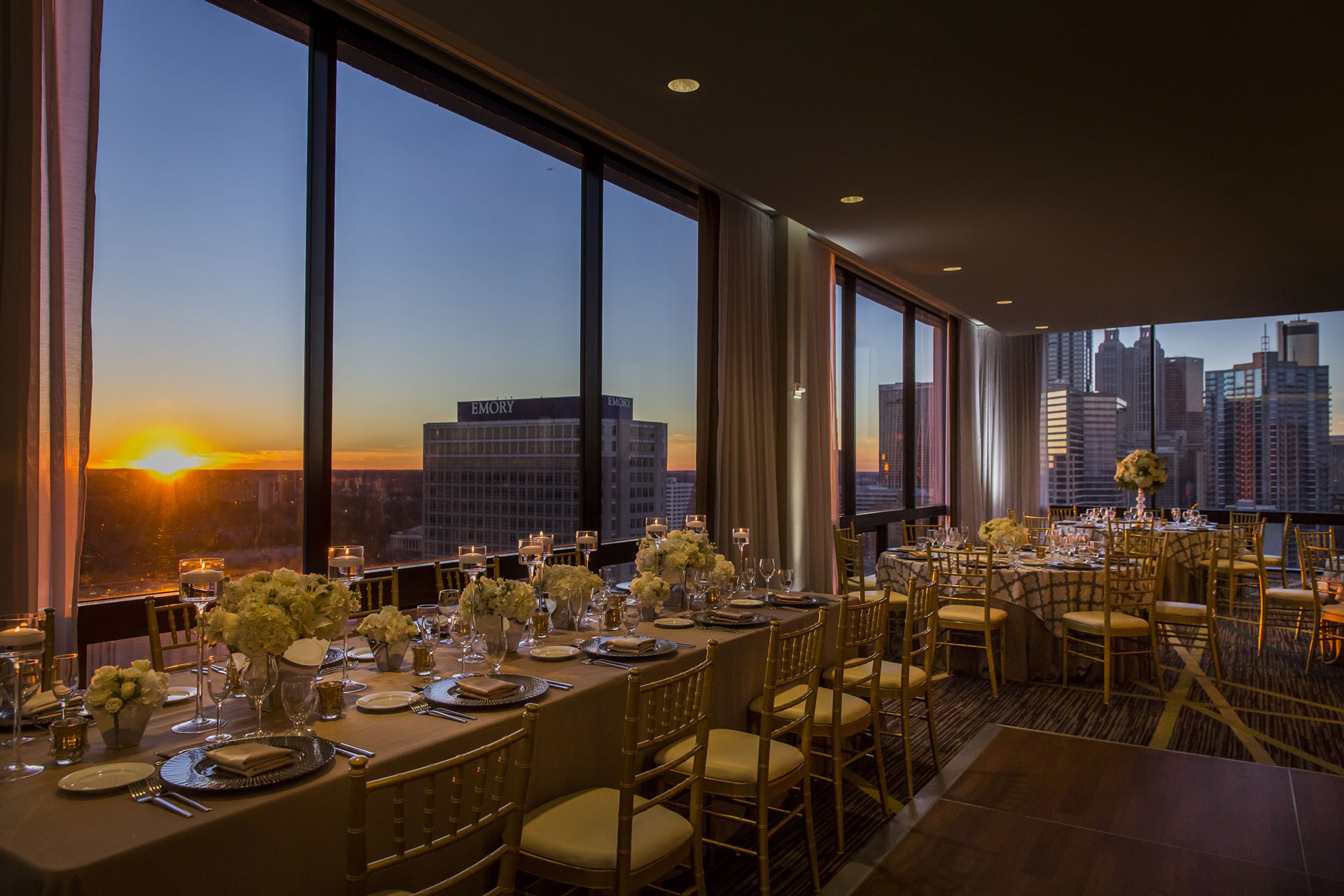 Close up of wedding table setting at sunset in the SKY Room East.