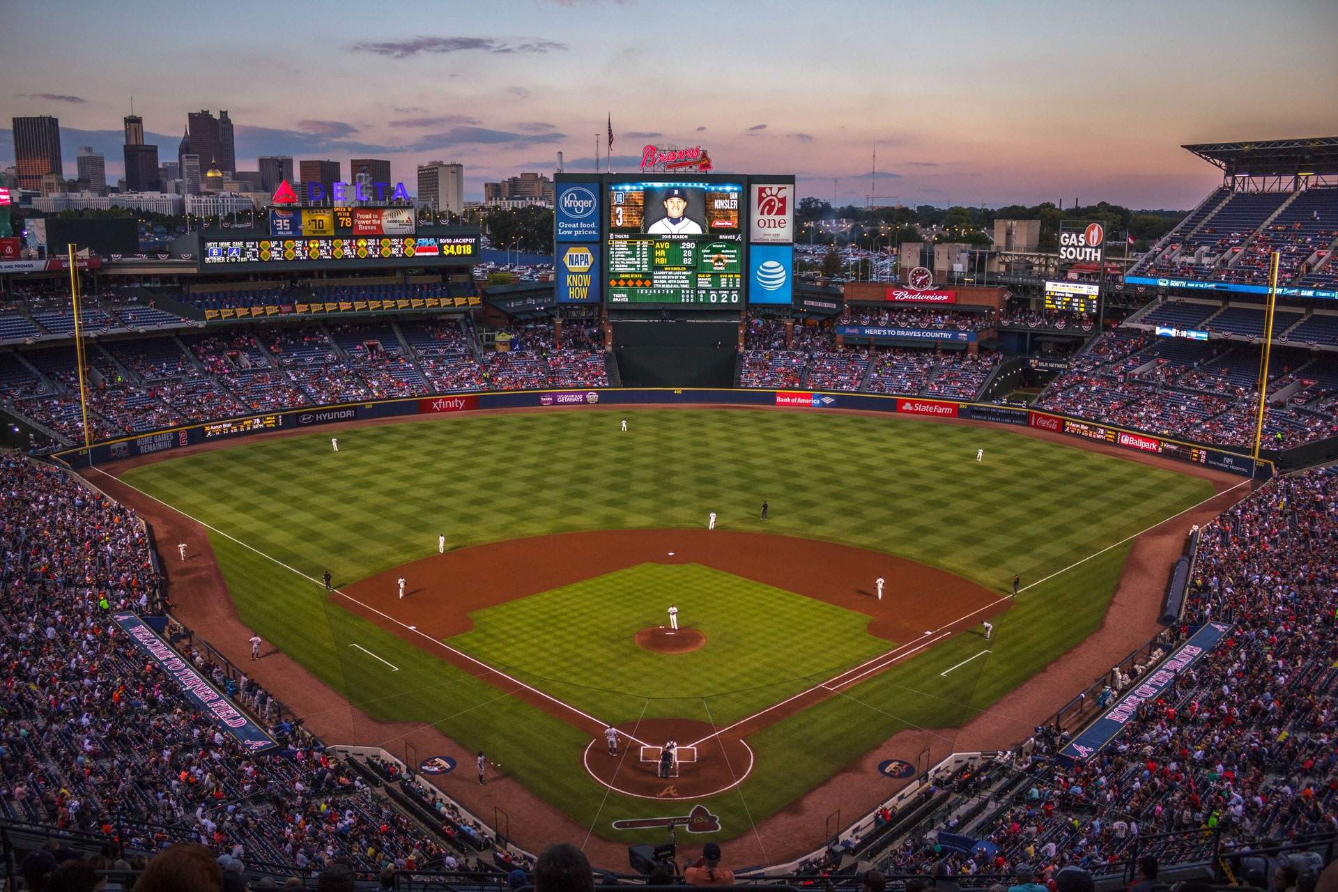 A view of the entire field at an Atlanta Braves baseball game at Truist Park.
