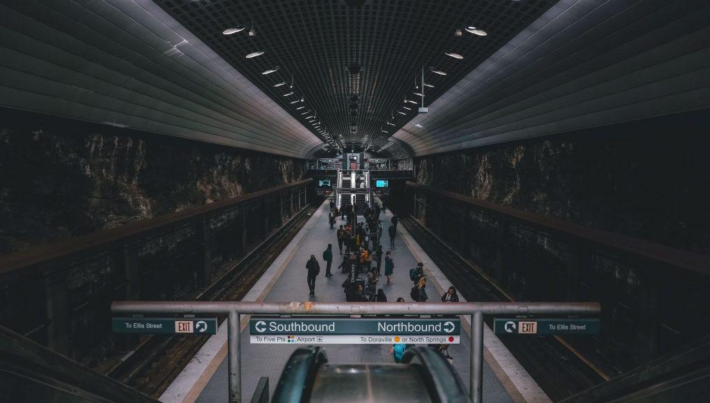 Inside the Metropolitan Atlanta Rapid Transit Authority (MARTA) subway terminal in Atlanta.