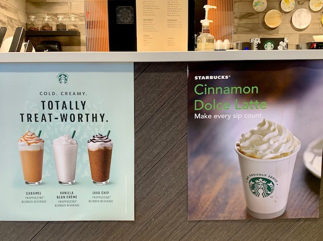 Signs for Starbucks coffee drinks at the Java590 cafe in Crowne Plaza Atlanta Midtown.
