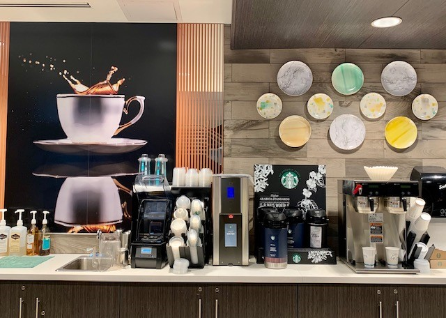 Coffee supplies at the Java590 cafe in Crowne Plaza Atlanta Midtown.