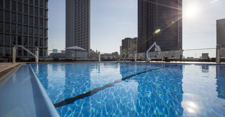 Close up of rooftop swimming pool and the Atlanta skyline at the Crowne Plaza Atlanta Midtown.